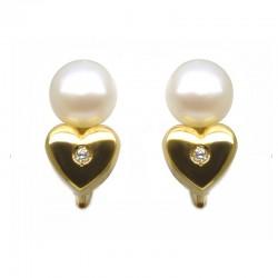 Pendientes corazón y perla