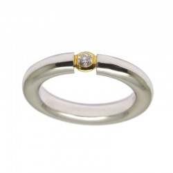 Anillo bicolor con diamante