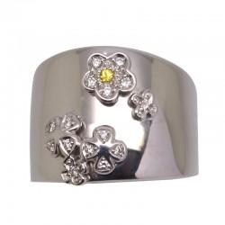 Anillo flores en oro blanco con zafiro amarillo y diamantes.