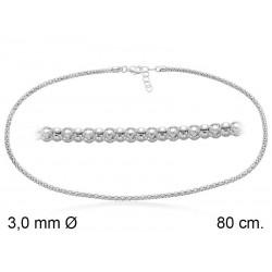 Cadena POP 3L 80 cm en plata