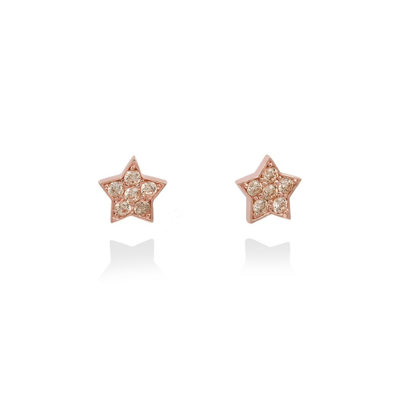 Pendientes de plata de primera ley (925) chapada en oro rosa de 18kt