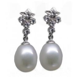 Pendientes oro circonitas y perla