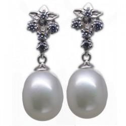 Pendientes  perla y circonitas