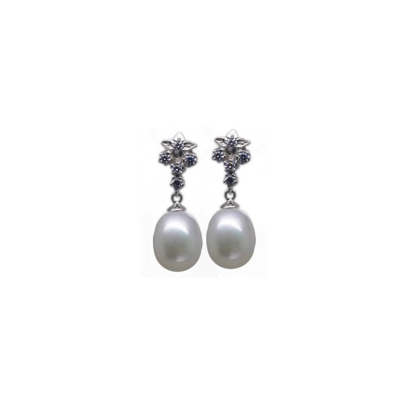 Pendientes oro circonitas y perlas