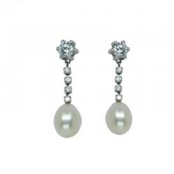 Pendientes largos perla y circonitas en garra