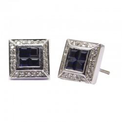 Pendientes Zafiros azules y diamantes