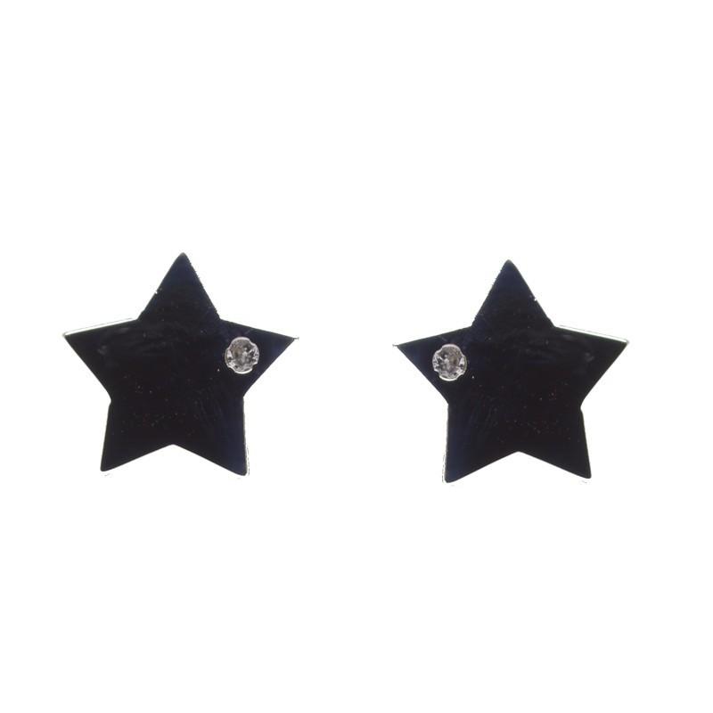 Pendientes estrella oro blanco
